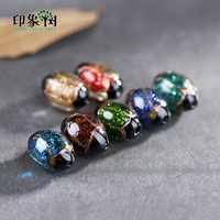 12X18mm 10 stücke Sand Pulver Oval Lampwork Perlen Glasierte Glas Perlen Transparent Europäischen Kristall Chamilia Perlen DIY armbänder 1608