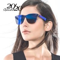 20 20 Brand Unique Style Sunglasses Women Sexy Flat Lens Rimless Square Frame Sun Glasses For
