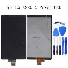 AAA LCD dla LG X moc K220 K220DS F750K F750K LS755 X3 K210 US610 K450 wyświetlacz ekran dotykowy z naprawa ramy zestaw wymiana