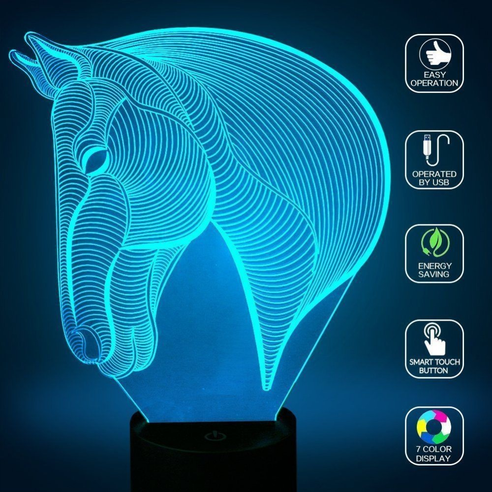 Horse head 3D Lamp USB Novelty Night Light Home Decoration Lights LED Colorful Glowing Child's Gift