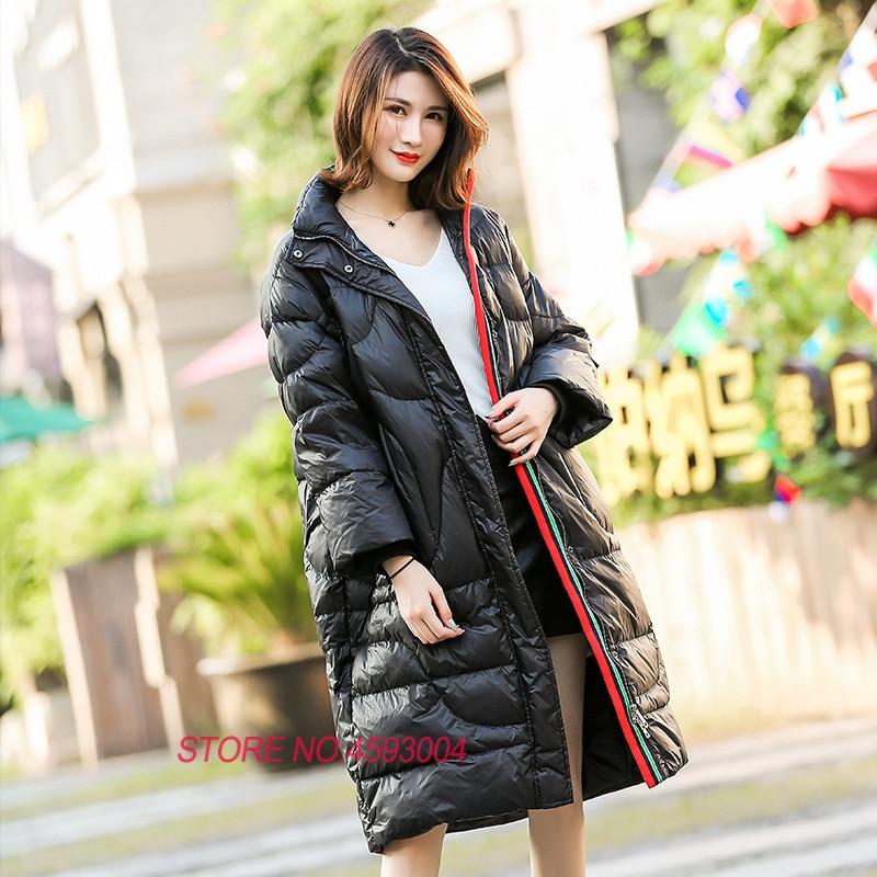 Casual Ee24 2018 Nouveau Veste Mode white De Black Parkas Capuche Manteau Long Vestes D'hiver Chaud red Outwear Épaississent Canard À Femmes Duvet Dames 0pxrqH0A