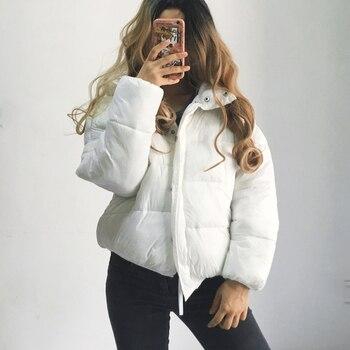 119150201e1 Зимняя куртка-парка 2018 Осенняя женская короткая белая пуховая куртка  свободное плотное пальто хлебная Одежда Пальто Верхняя одежда женски.