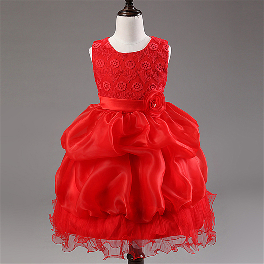 Подробнее о Red Flower Princess Wedding Dress Girl Tulle Dresses Children Clothing Ball Gown Girls Clothes Kids Party Dresses Summer XD17-A zika new children puff dress little girl clothing summer flower princess costumes kids dresses for girls wedding party 3 8y