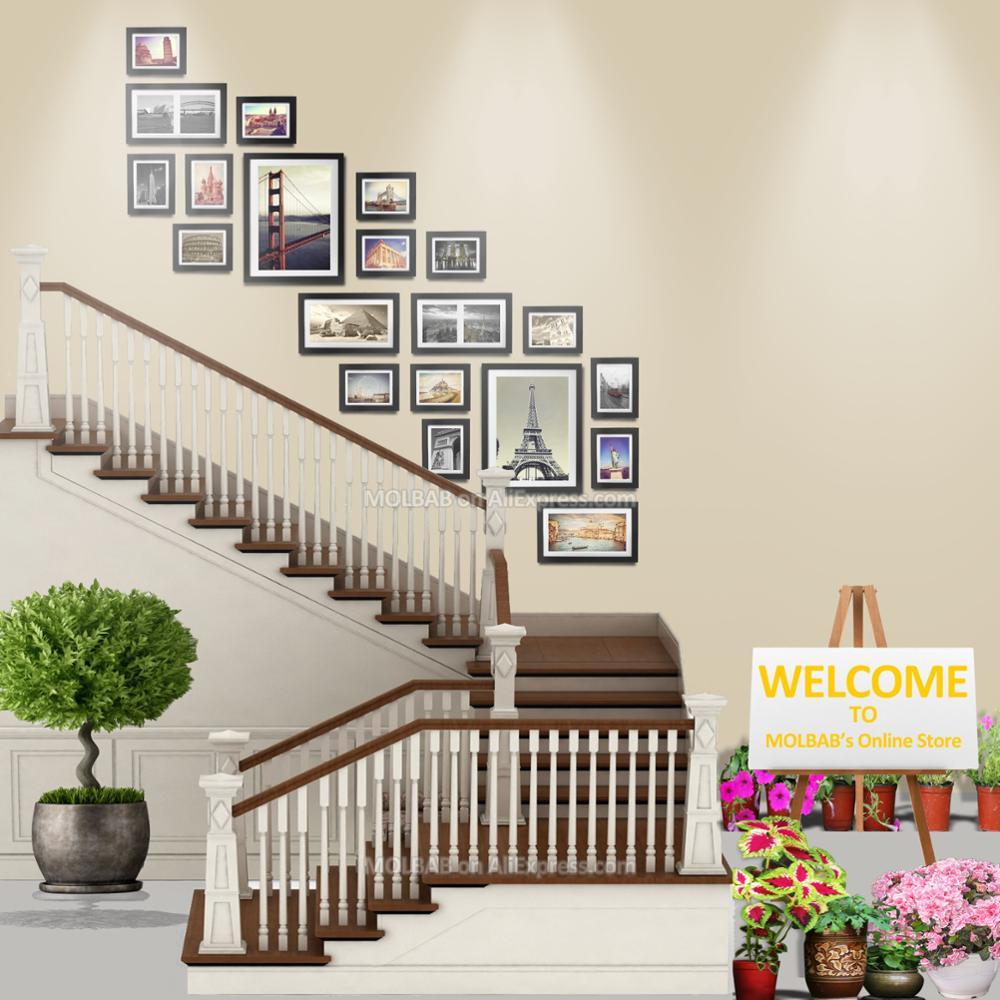 MOLBAB الخشب إطار صور معرض الدرج جدار 20 قطعة/المجموعة الحديثة نمط شقة الحدود خشبية صورة أطر المنزل درج الديكور-في إطار من المنزل والحديقة على  مجموعة 1