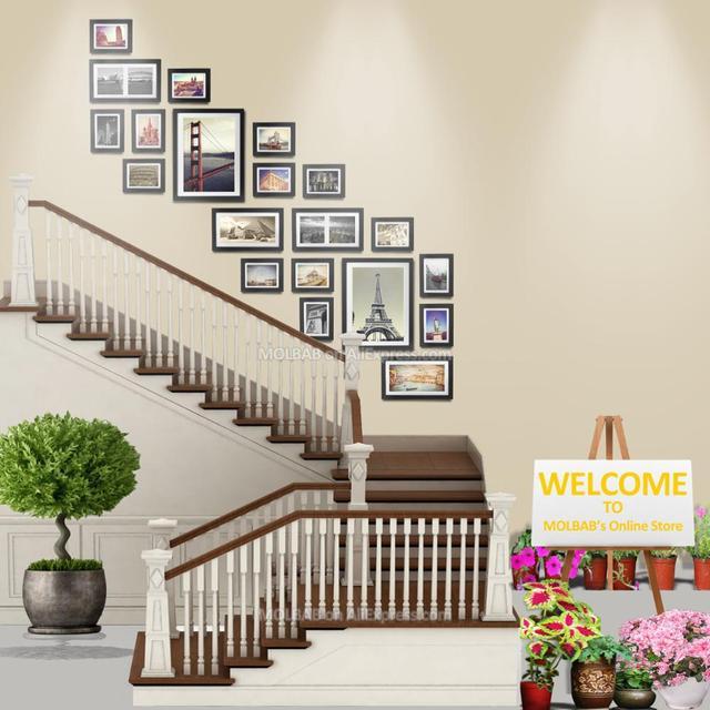 MOLBAB bois cadre Photo escalier galerie mur 20 pièces/ensemble ...