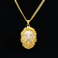 Samyueng Punk Gold Lion Head Pendant Necklaces For Men Women Hiphop Link Chain Necklace Male Neckless