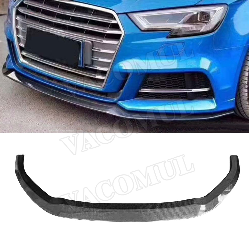 Carbon Fiber Front Bumper Lip Spoiler for Audi A3 Sline S3 Sedan 4 door Not A3 Standard 2017 2018 Car Styling