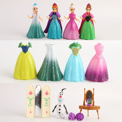 13pcs/set PVC Elsa Anna Princess Dress Girl Toys Play House Dress Up Game Kids Toys Action Figures For Girl Gift