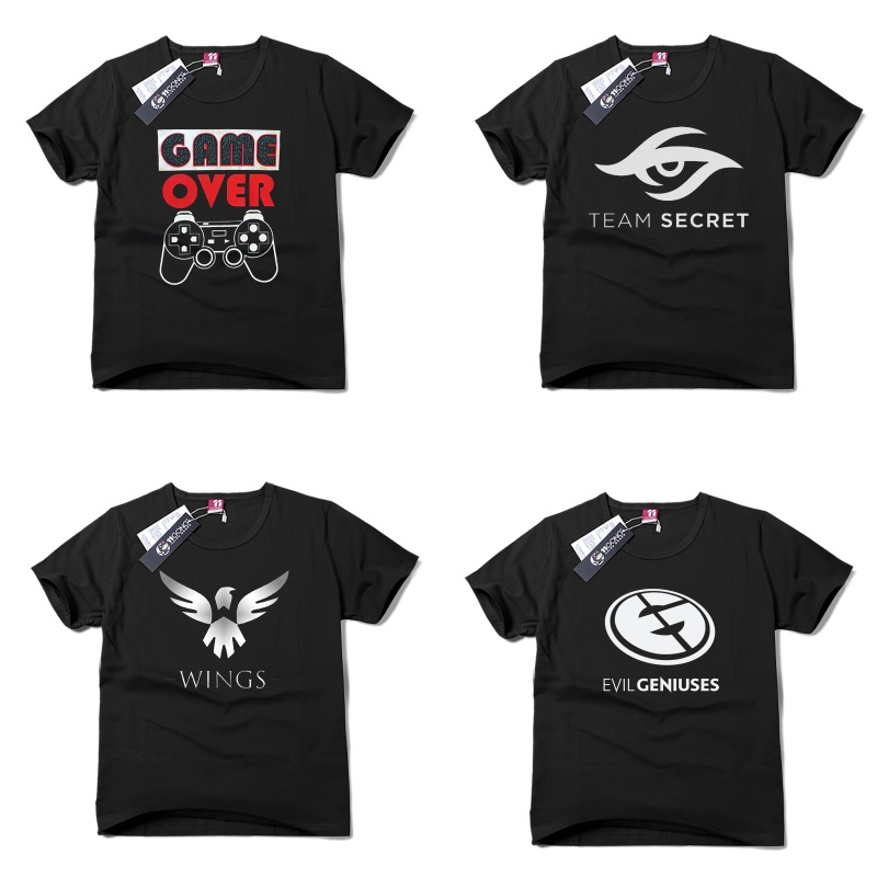 Japanese animation cartoon T-shirt with short sleeves Printed cotton game team logo short sleeve  T-shirt BOY Student