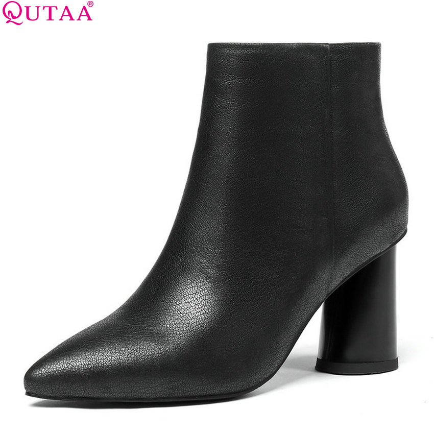 QUTAA 2019 Women Ankle Boots Fashion Zipper Cow Leather +pu Square High Heel Winter Shoes Women Motorcycle Boots Big Size 34-43 qutaa 2019 woman ankle boots fashion cow leather pu square high heel women shoes winter shoes ladies motorcycle boots size 34 42