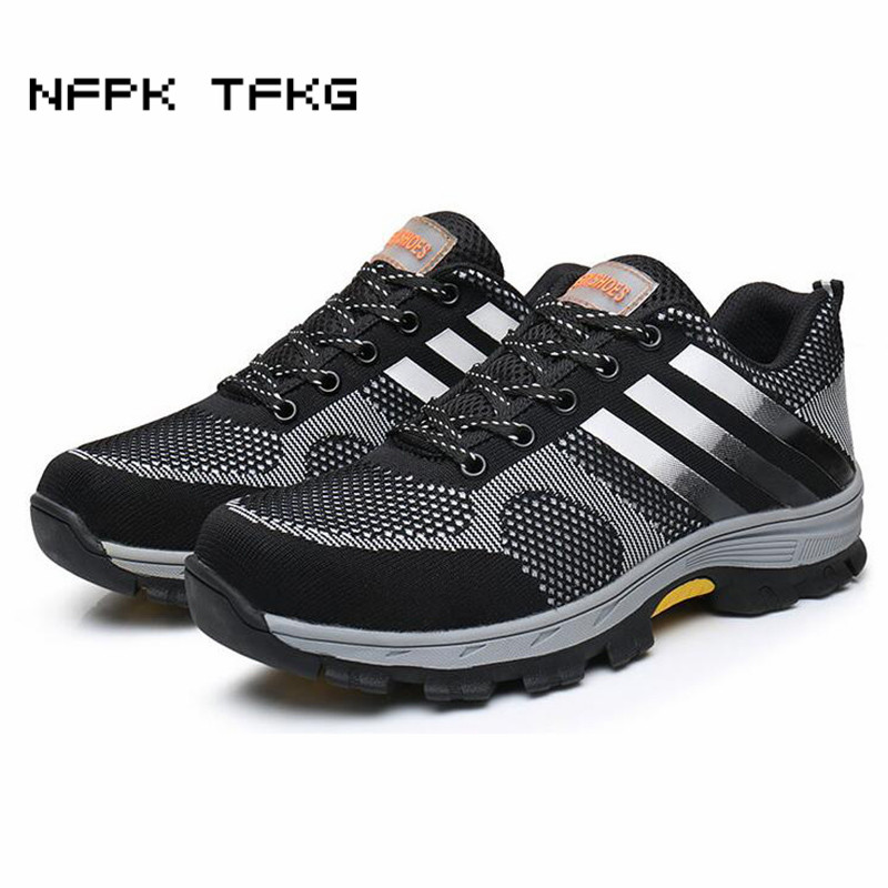 top quality men large size breathable mesh steel toe caps