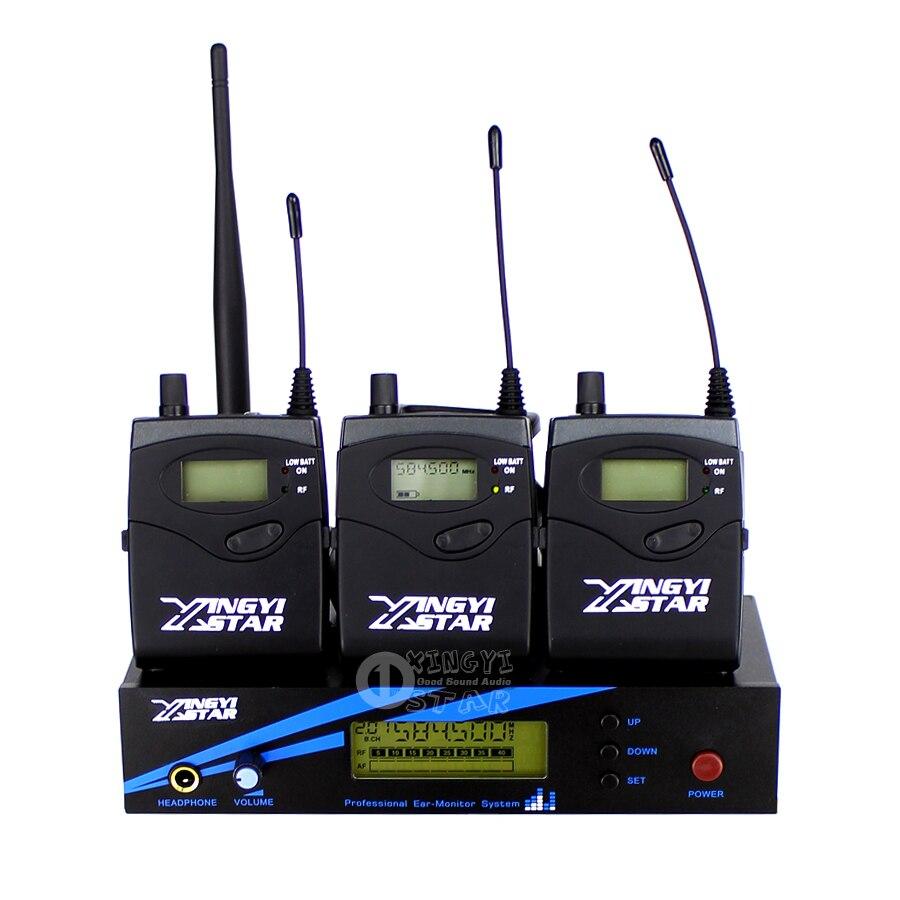 В ухо монитор Беспроводная система сценический Профессиональный UHF беспроводной контроль в наушниках три Boadypack приемник и один передатчик - 4