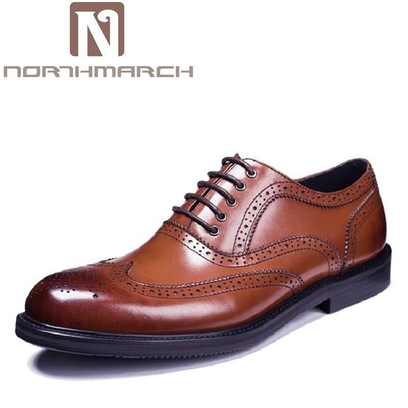 NORTHMARCH Brogues Oxfords Genuine Leather Breathable Handmade Men Shoe British Fashion Luxury Cowhide Breathable Shoes chic round neck short sleeve figure print fringed dress for women