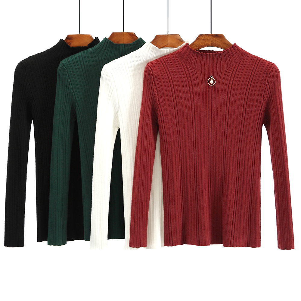 NEW 50% OFF sweater women turtleneck knitted femal must have basic long winter pullovers for ladies Christmas gift