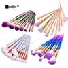 10pcs Set Thread Rainbow Spiral Handle Makeup Brushes Beauty Cosmetics Foundation Blending Blush Make Up Brush