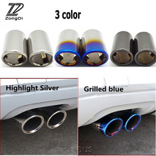 ZD 2PCS For Audi A3 A4 B8 A6 C6 A5 Q5 Q7 Q3 A1 A8 Car Exhaust Tip Muffler Pipe Stainless Steel Covers High Quality Accessories