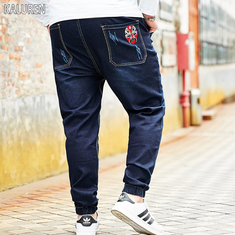 TOP Free Shipping Big Size M-8xl Plus Men Jeans Chinese Style Pants Cotton Male Waist Waist Long Trousers Loose Pants