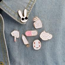 Jacket Pin Button-Pins Cartoon Badge Brooch Jewelry-Decoration Lapel Pill Rabbit Metal