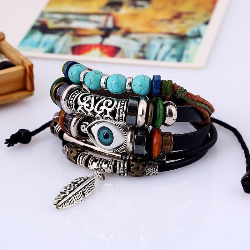 Evil Eye Men String Bracelets 2019 Wristband Beads Leather Rope Bracelet Fashion Original Design DIY Jewelry in Charm Bracelets from Jewelry Accessories