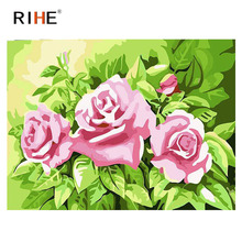 RIHE Pink Rose Diy Painting By Number Oil On Canvas Hand Painted Green Leaves Cuadros Decoracion Acrylic Paint Home Art