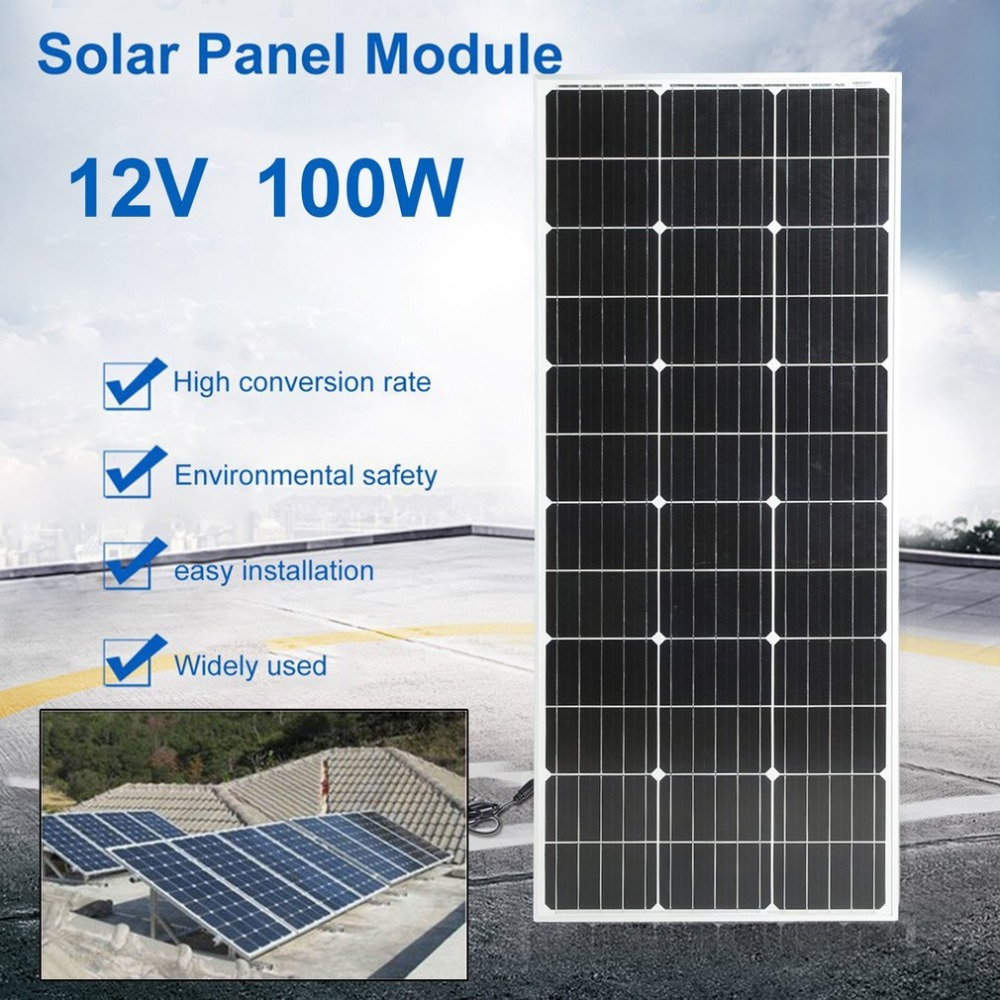 (Ship From DE)100W Monocrystalline Practical Solar Power System Module Solar Panel 12V Battery Charging For Off Grid RV Boat