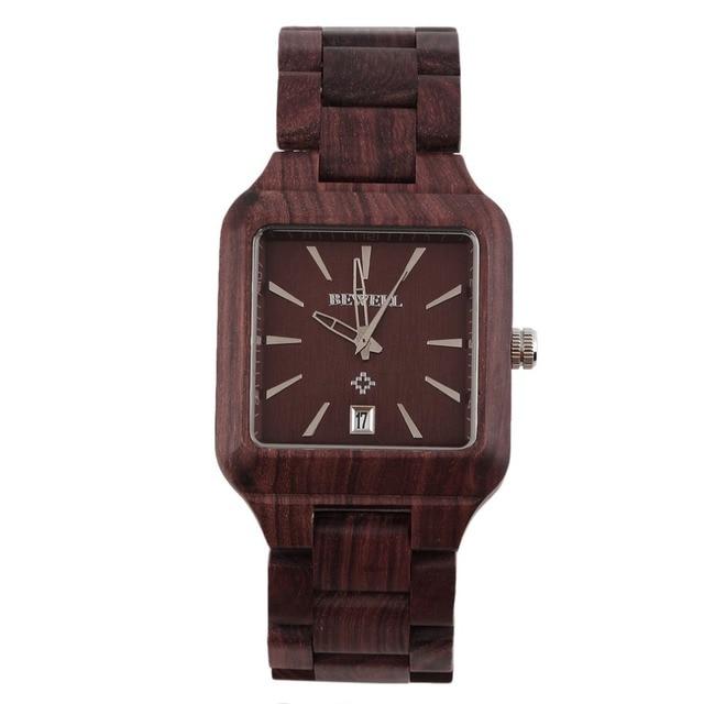 New BEWELL Cool Men Natural Wooden Quartz Watch Aquare Shape Wristwatch Hot!