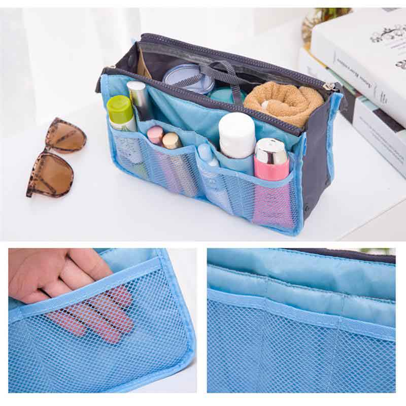 Image 3 - Organizer Insert Bag Women Nylon Travel Tote Hanging Toiletry Bag Purse Large liner Lady Makeup Cosmetic Bag Cheap Female Tote-in Storage Bags from Home & Garden