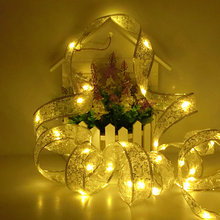 LED Silk Ribbon String Fairy Lights 4M 40 Leds For Christmas Wedding Party Decoration Package Ribbon