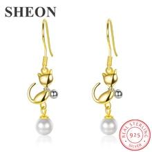 SHEON Elegant 925 Sterling Silver Lovely Cat Kitten Drop Earrings for Women Authentic Jewelry Mothers Day Gift