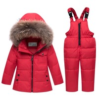 30 Degree Real Fur Hooded Boy Baby Girl Thick Duck Down Jacket Suit Warm Kids Parka Children Coat Snowsuit Winter Gilrs Clothes