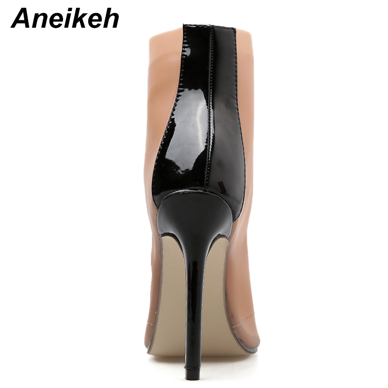 Aneikeh Sexy Clear Transparent PVC Women Ankle Boots Pink Peep Toe Lace Up  Stiletto High Heels Sandals Shoes Pumps Mujer Women-in Ankle Boots from  Shoes on ... f9e39f964d47