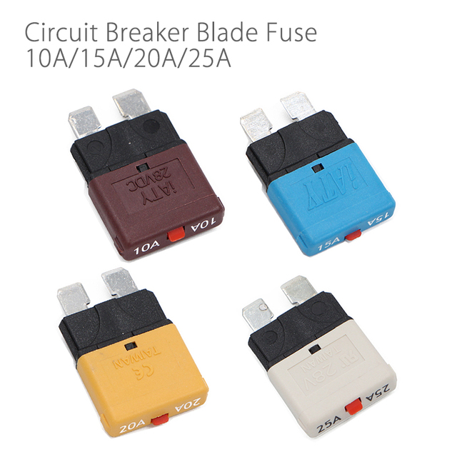 Resettable Circuit Breaker Blade Fuse 10A   25A 28V For Marine Rally Automotive