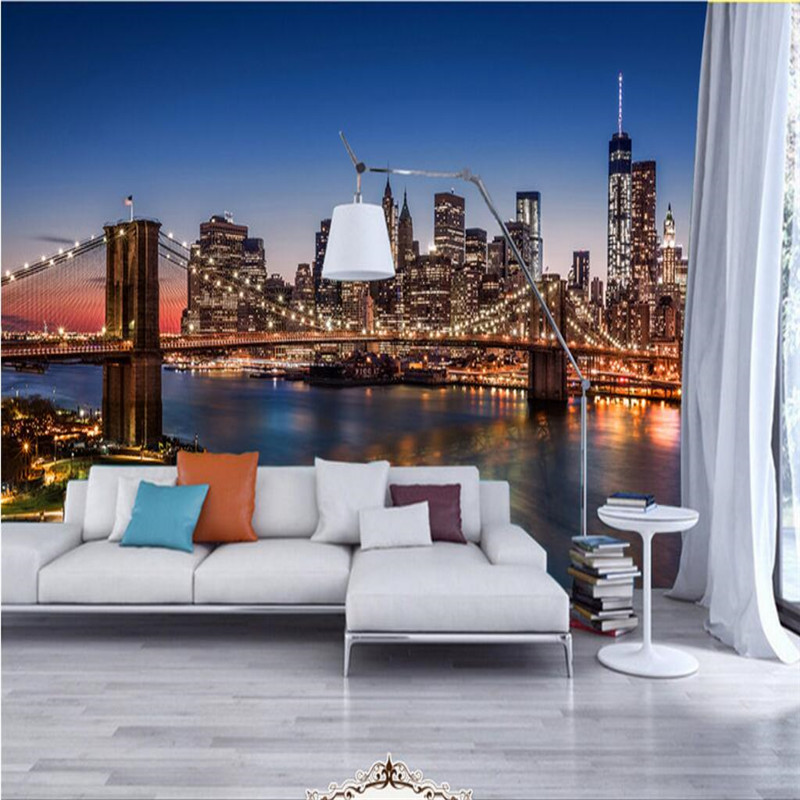 Customize size mural wallpaper background brooklyn bridge at night restaurant home decor wall for Living room steakhouse brooklyn