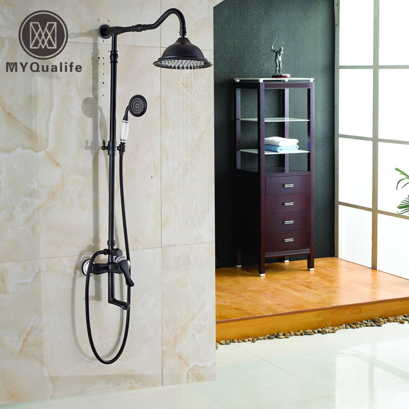 Classic Single Handle Rotate Tub Filler Shower Faucet Set Wall Mounted Bathroom Shower Mixers with Handheld Shower