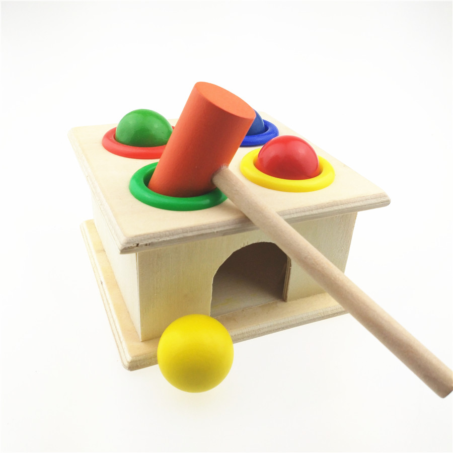 Wooden Playing Hamster Game Toy Hammering Ball Hammer Knocking Box Baby Kids Early Learning Educational Toy ball run track game toy wooden puzzles diy mini tree baby kids education puzzles fun kids toys m3011