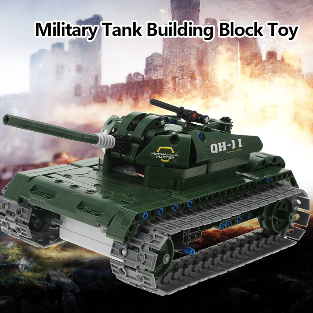 Newest 453pcs Technic Military Remote Control RC Tank Can Rotate Turret Launch Missile Building Block Brick Toy 1572pcs moc technic the remote control rc tank military war assembly building block brick toy for boys christmas gift 20070
