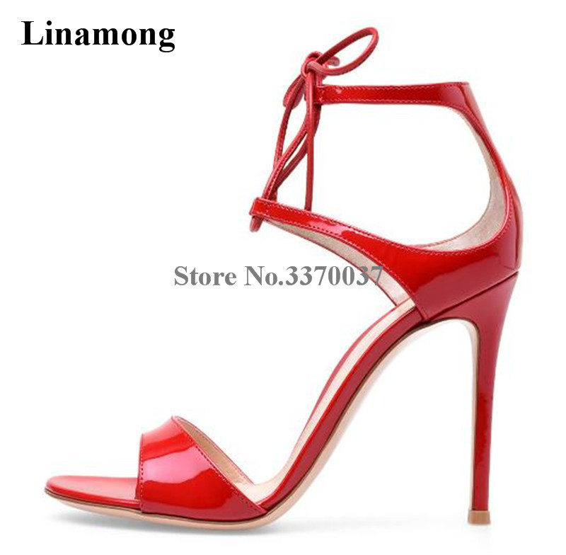 Hot Selling Women Fashion Open Toe Red Patent Leather Thin Heel Sandals Lace-up Ankle Strap High Heel Sandals Dress Shoes цена