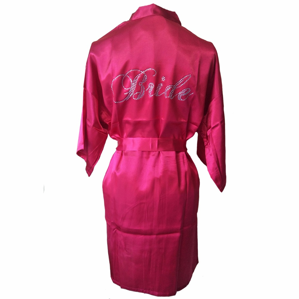 New Satin Women Kimono Bath Night Gown Bride Bridesmaid Wedding Robe Dress Female Rhinestone Sleepwear Pajamas S-XXL G20