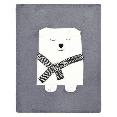 Кондиционер одеяло кролик лиса вязаный ребенок мультфильм животных одеяло диван коляска Чехлы для детей новорожденных постельные принадлежности пеленать decke - Цвет: grey bear