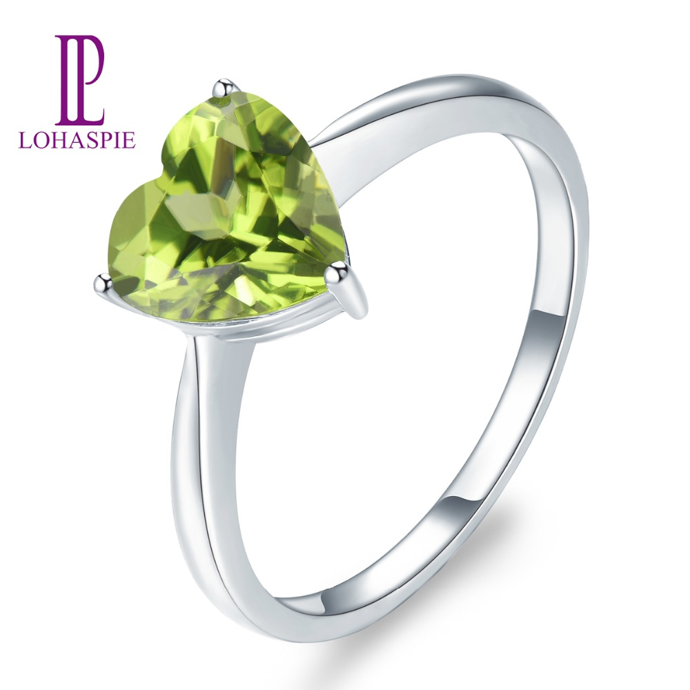 167b120b1 LP Hot Sale Fine Jewelry Rings 9K 10k 14K 18K White Real Gold Natural  Gemstone 8MM Peridot Heart Ring Solid For Women Gift NEW