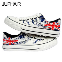 JUP Shoes Cartoon Flag Pattern Design Hand Painted Canvas Shoes Flag Pattern Unisex for Mens Males Couples Low Tie Fashion Boys