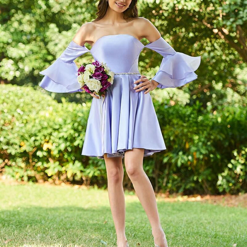 lavender sample a line   bridesmaid     dresses   long sleeves rufflues zipper up wedding party Gowns women short mini Bridal Prom   Dress