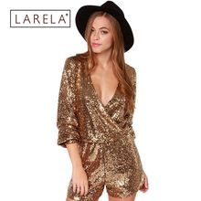 2016 Hot Sale Womens Gorgeous Shining Gold Jumpsuit Paillette V Neck Sequined Bodysuit Jumpsuits Party Clothing HD0223