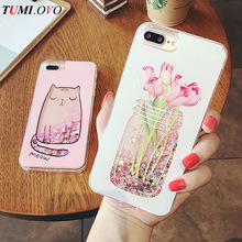 Cartoon Cat Flower Vase Girl Love Heart Glitter Stars Dyanmic Liquid Quicksand Soft TPU Phone Back Cover For iPhone 6 6S 7 Plus