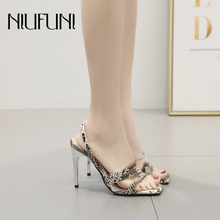 Sexy Snake Pattern Square Head Womens Sandals 2019 New High Heels Thin Belt Hollow Fashion Summer NIUFUNI Casual Ladies Shoes