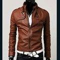 Новый бренд кожаная куртка мужчины стоять воротник тощий кожаные куртки человек локомотива пу куртки пальто, бесплатная доставка
