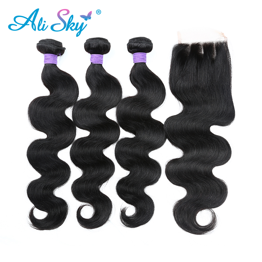 Brazilian Body Wave 3pcs Human Hair Bundles With 1pcs Lace Closure [Ali Sky]Three Part Non Remy Hair Freeshipping Hair Extension