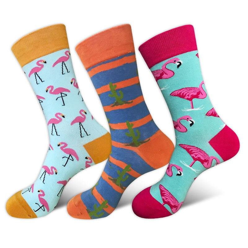 New Product Tide Flamingo Cactus Men's Casual Socks, Personality Happysocks Fashion Casual Flamingo Cactus Cotton Men's Socks