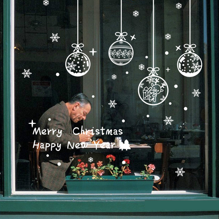 2017 New Diy Christmas Balls Wall Sticker Shop Window