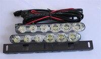 Free Shipping 2PCS 12V Car Styling Super Bright Head Lamp Car Lights 12 LED Daytime Running